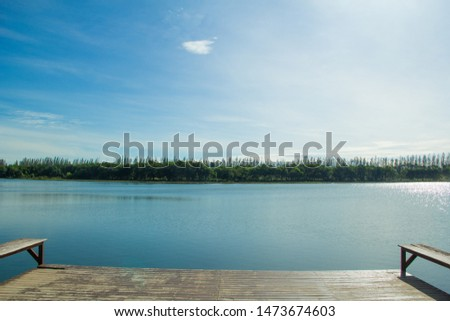 Waterfront pavilion, Waterfront pavilion and blue sky,Waterfront pavilion in the lake. #1473674603