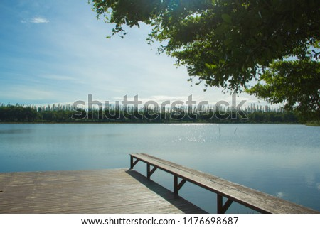 Waterfront pavilion, Waterfront pavilion and blue sky,Waterfront pavilion in the lake. #1476698687