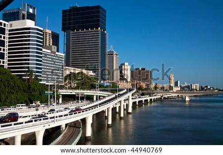 Waterfront roads with on and off ramps in late afternoon in Brisbane Australia
