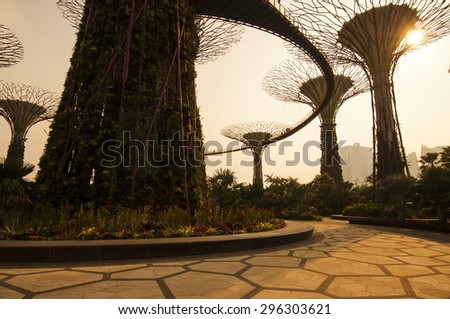 Waterfront, Singapore - March 09, 2014 : Silhouette of Gardens by the Bay. The place was crowned World Building of the Year at the World Architecture Festival 2012