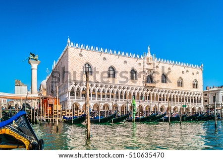 Waterfront view at Doge's Palace in famous Venice city, view from gondola ride. / Doge's Palace waterfront view. / Selective focus.