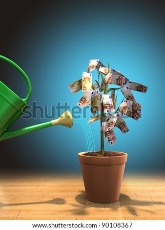 Watering a money plant in a pot. Digital illustration. - stock photo