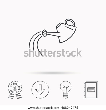 Watering can icon. Gardener equipment sign symbol. Download arrow, lamp, learn book and award medal icons.