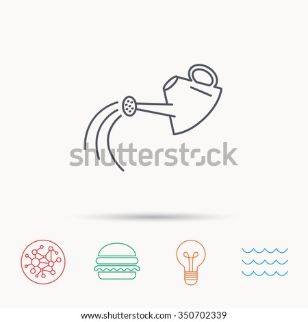 Watering can icon. Gardener equipment sign symbol. Global connect network, ocean wave and burger icons. Lightbulb lamp symbol.