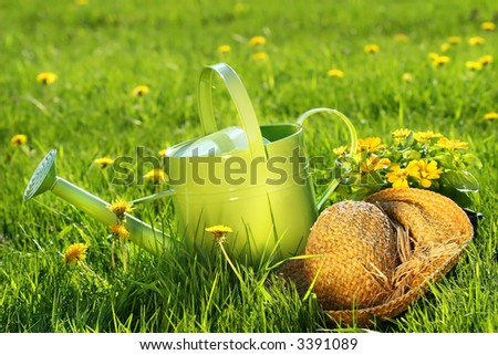 Watering can in the grass with old straw hat