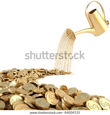 watering can pouring molten gold the road of gold coins. isolated on white.