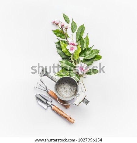 Watering can with gardening tools and green bunch of twigs with blossom decoration on white desk background, top view