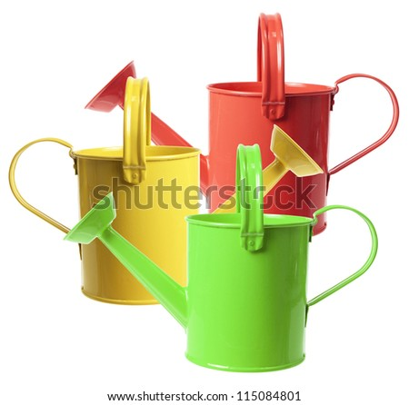 Watering Cans on White Background