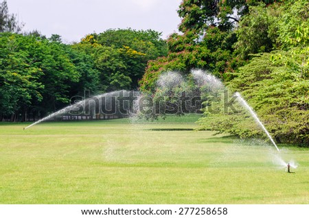 watering in green grass field