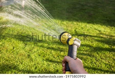 Watering lawn grass and plants with a hose from a manual irrigation system. Hand with lawn watering hose sprayer