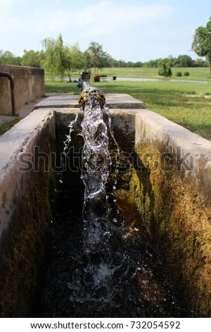Watering place near Holland house (A Holland Ház)on isle in garden of Classicist manor house in Dég, Hungary  Stock fotó ©