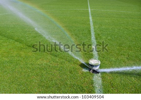 Watering turf on a football stadium