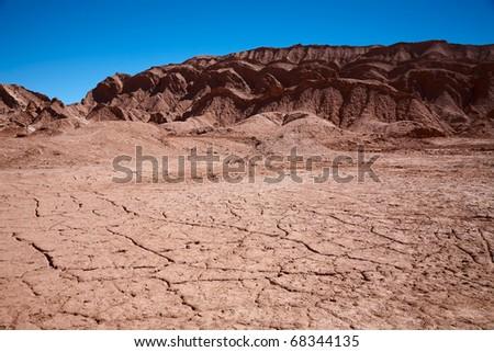 waterless landscape in Moon Valley, desert Atacama, Chile