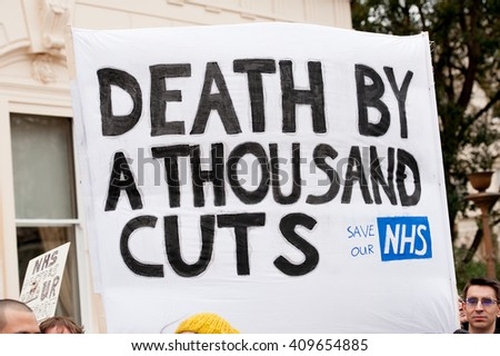 Waterloo Place, London, UK. 6th February 2016. EDITORIAL - Nursing professionals and supporters gather at Waterloo Place, London, in protest of government plans to change NHS junior doctor contracts.