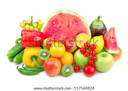 watermelon and a variety of fruits and vegetables isolated on white background
