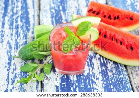 watermelon and cucumber smoothie on wood table.