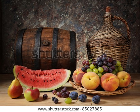 Watermelon and fresh fruit on the table