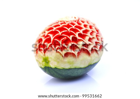 Watermelon carving isolated on white background