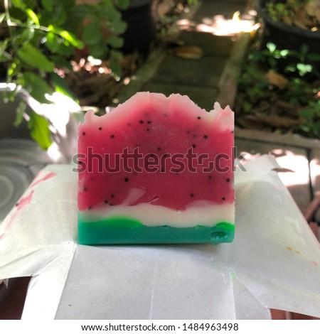Watermelon cold process soap. Handmade soap.
