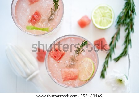 Shutterstock Watermelon fruity cocktail mocktail drink decorated with cubes of fresh watermelon and rosemary