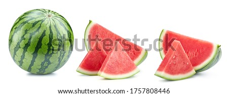 Watermelon isolated on white. Fresh watermelon. Watermelon collection clipping path. Full depth of field