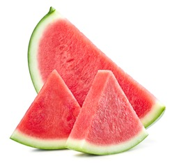 Watermelon isolated. Slices of watermelon fruit isolated on white background. Watermelon clipping path