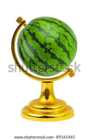 Watermelon like a globe isolated on white background