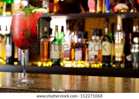 Watermelon Mojito on the background of the bar