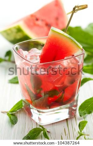 Watermelon Mojito with Watermelon Garnish