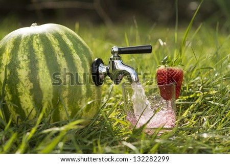 Watermelon on lush grass a fitted tap dispenses its pink water