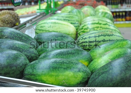 watermelon on the market shelves