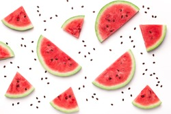 Watermelon pattern. Sliced watermelon and seeds on white background, top view