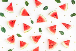 Watermelon pattern. Sliced watermelon on white background. Flat lay, top view.