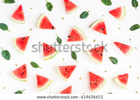 Watermelon pattern. Sliced watermelon on white background. Flat lay, top view