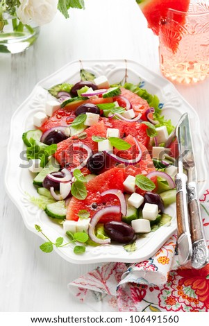 Watermelon Salad with Feta,Cucumber,Olive  and Mint