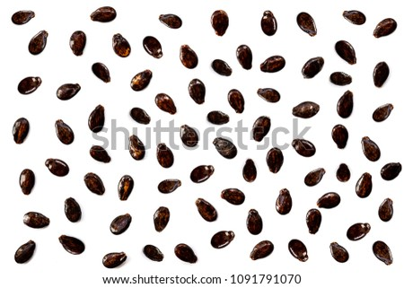 Watermelon seeds isolated on white background. Flat lay. Black seed Pattern. Food concept.