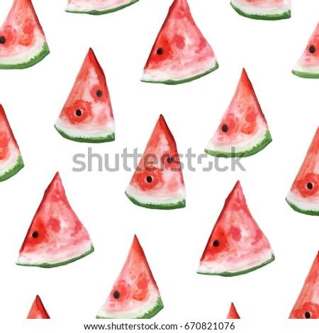 Watermelon slice watercolor illustration. art print. pattern  - Shutterstock ID 670821076