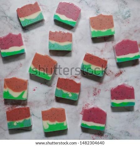watermelon soaps. cold process handmade soap.