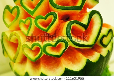 Watermelon with cutted heart shapes