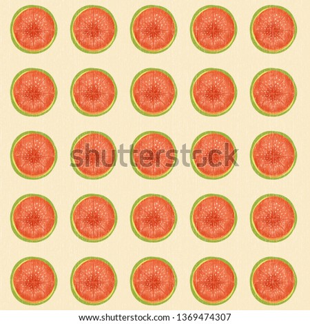 Watermelons pattern.  background with watercolor watermelon slices.