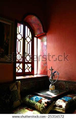 waterpipe in a window at marrakesh morocco - stock photo