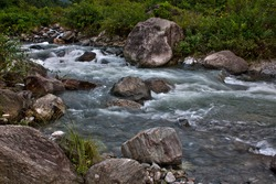 Waterscape - a study of water in the Relli river at Kalimpong. The river is a fast flowing mountain stream