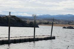 Waterscape of an empty pier at Willow Lake in Prescott, Arizona