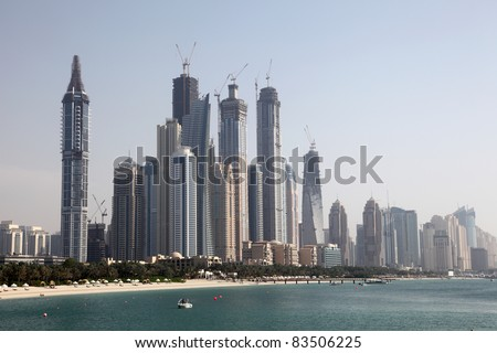 Waterside highrise buildings in Dubai Marina, United Arab Emirates