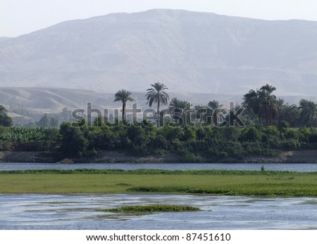 waterside scenery at Nile in Egypt
