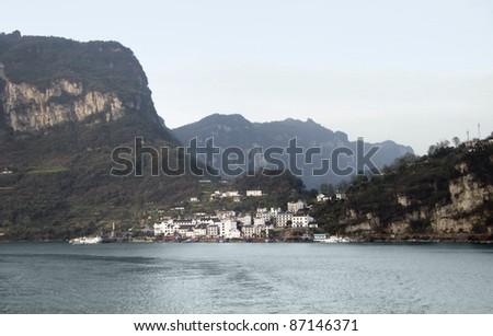 waterside scenery at the Yangtze River in China - stock photo