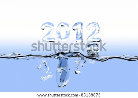 Watersurface with the numbers 2011 splashing into the water and 2012 staying over the surface. The numbers are also made of water.