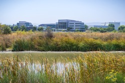 Waterway in the south of San Francisco bay; Yahoo HQ in the background; Sunnyvale, California