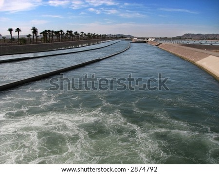 Waterworks at the head of the Imperial Canal, California