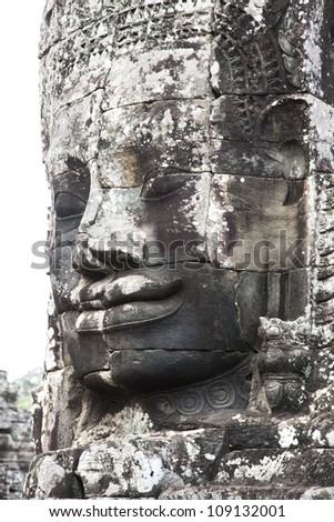 wathered ancient huge stone face temples abandoned around six hundred years ago siem reap angkor wat cambodia asia hindu